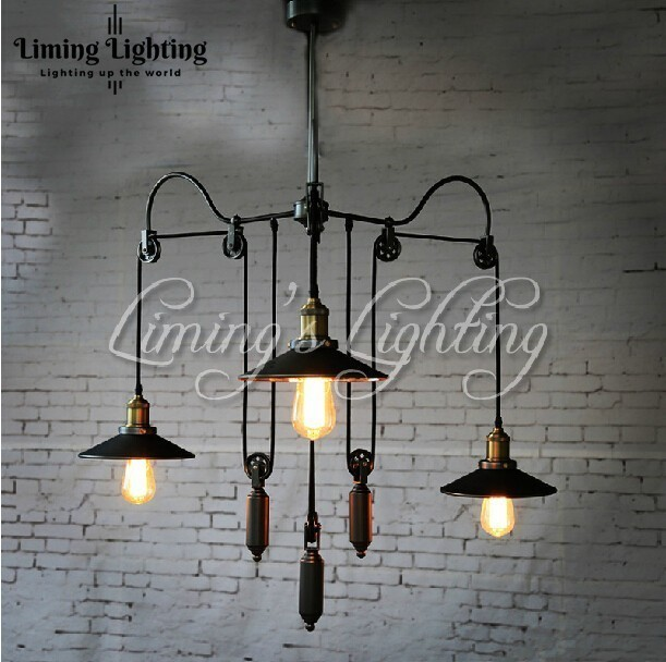 3 Head RH Loft Industrial E27 LED Edison Bulbs Pulley Pendant Lights Adjustable Wire Lamps Retractable Bar Decoration Lighting vintage iron loft industrial american country pulley pendant lights adjustable wire lamps retractable bar lighting