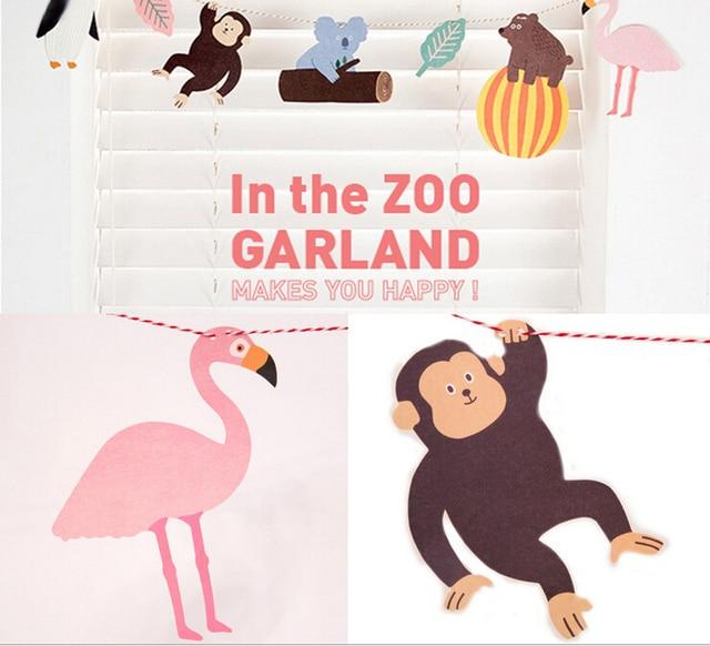 1Pcs New Korea Stationery Cartoon Diy Card The ZOO Garland Animals Party Paper Birthday Greeting Cards
