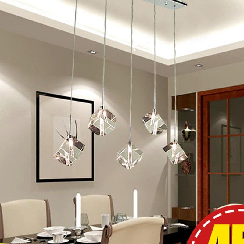 Modern simple fashion crystal lamp creative restaurant lamp pendant three crystal hanging lamp bar lighting Transparent Crystal creative restaurant pendant lamp individual crystal hanging light 110v 220v 80w fashion supend lighting
