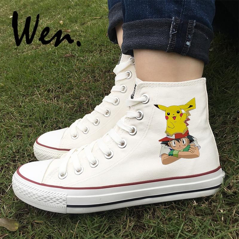 Wen Man Skateboarding Sko Design Anime Pokemon Ash Pikachu Canvas Sneakers Kvinder Platform Plimsolls Slips Gymnastiksko
