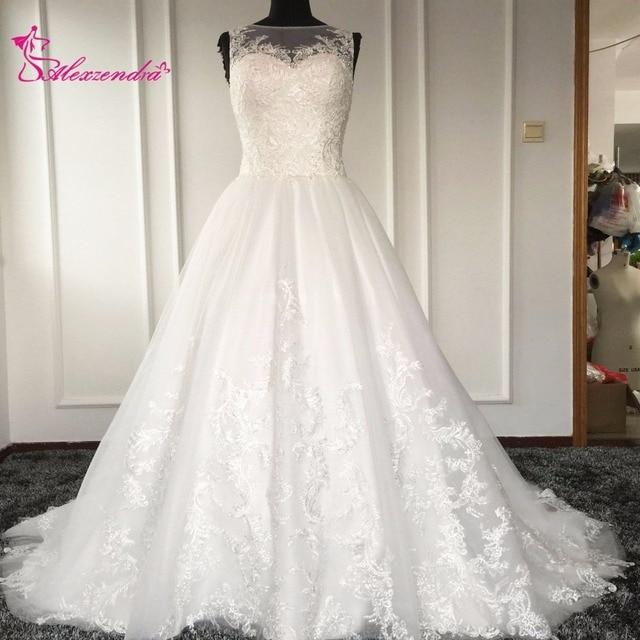 A Line Wedding Dresses Scoop Neckline Lace Unique Illusion Back Dubai Bride Gowns Plus