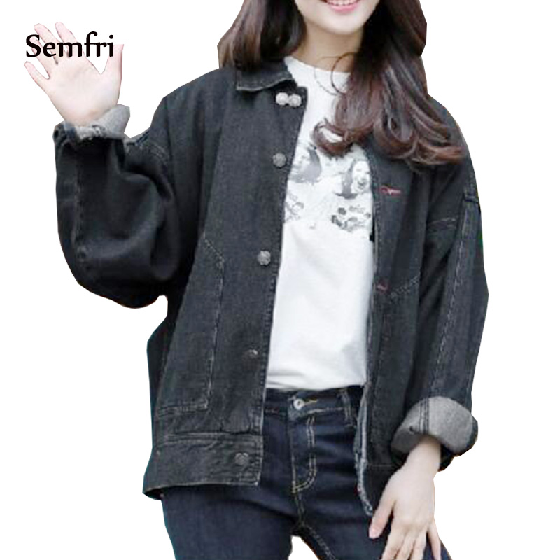 Semfri Black Jean Jacket 2019 woman korean fashion clothing Loose Pocket denim coat outwear Jaquetas Bomber Jacke basic