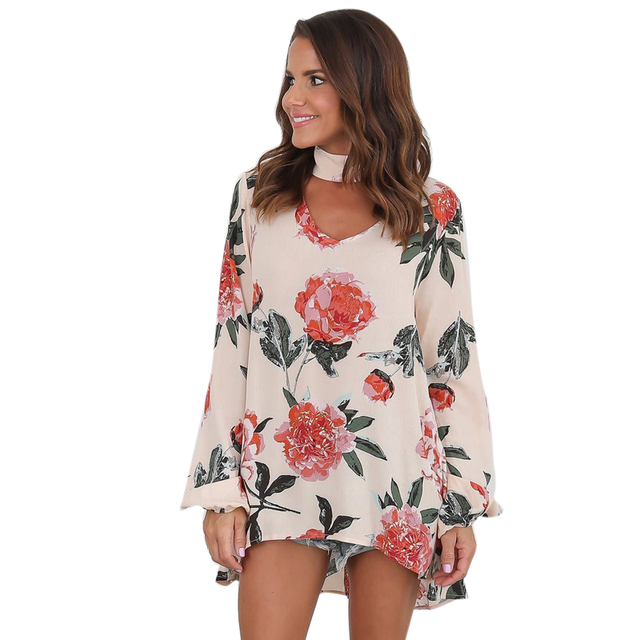 fbe2224f7cc550 Women Floral Blouses Loose Chiffon Blouse Ladies With Choker Casual Long-Sleeved  Womens Summer Autumn Tops Shirt Top Femme Z4