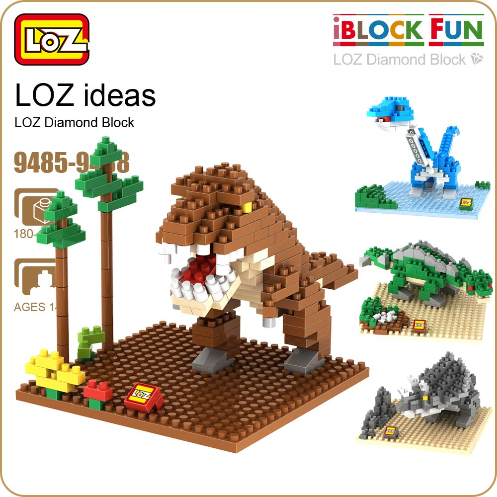 LOZ Diamond Building Blocks Bricks Dinosaur Animal Model Action Figure Jurassic Dinosaurus Toys Tyrannosaurus Rex DIY 9485-9488 loz architecture space shuttle mini diamond nano building blocks toys loz space shuttle diy bricks action figure children toys