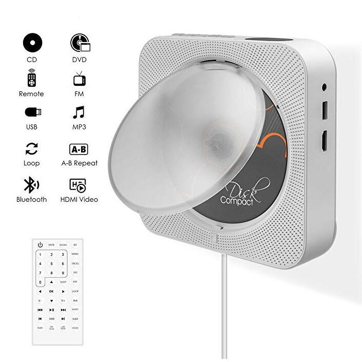 Lecteur DVD Kustron avec sortie HDMI 1080 P pour TV, lecture de DVD et de cd, commutateur de traction avec télécommande, Bluetooth, Radio FM, etc.
