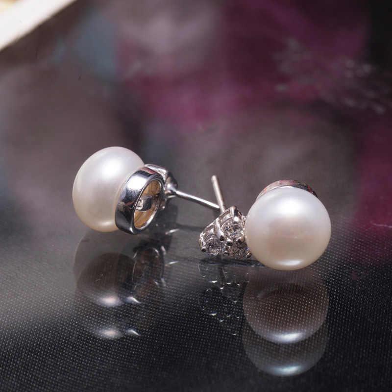 SHDIYAYUN Pearl ต่างหูสามเหลี่ยมน้ำจืดเพิร์ลสไตล์เงิน Stud ต่างหูเครื่องประดับต่างหูเพชร