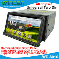 New!!! 1080P pure Android Car DVD for Universal Two Din 512MB memory 8GB storge Space 1GHz Motorized Slide Down Panel