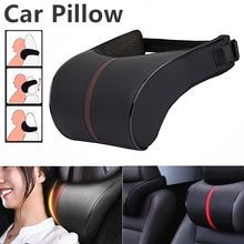 1PCS PU Leather Auto Car Neck Pillow Memory Foam Pillows Neck Rest Seat Headrest Cushion Pad 3 Colors High Quality Interior