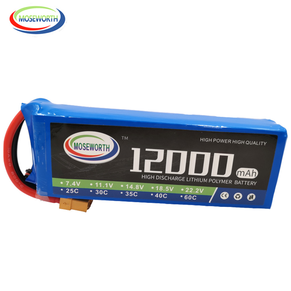 RC Aircraft <font><b>LiPo</b></font> Battery 14.8V <font><b>12000mAh</b></font> 25C 4S Batteries For RC Airplane Drone Helicopter Car Quadrotor 4S RC Battery <font><b>LiPo</b></font> 14.8V image