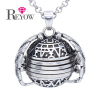Antique Silver 18mm Four Photo Ball Locket Angel Wing Living Memory Pendant Necklace 30 Chain Jewelry