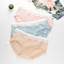 Roseheart Fashion Cotton Blue Pink Skin Bow Mid Waist Panties Women Underwear Lingerie Briefs 3 Pieces Color Underpants