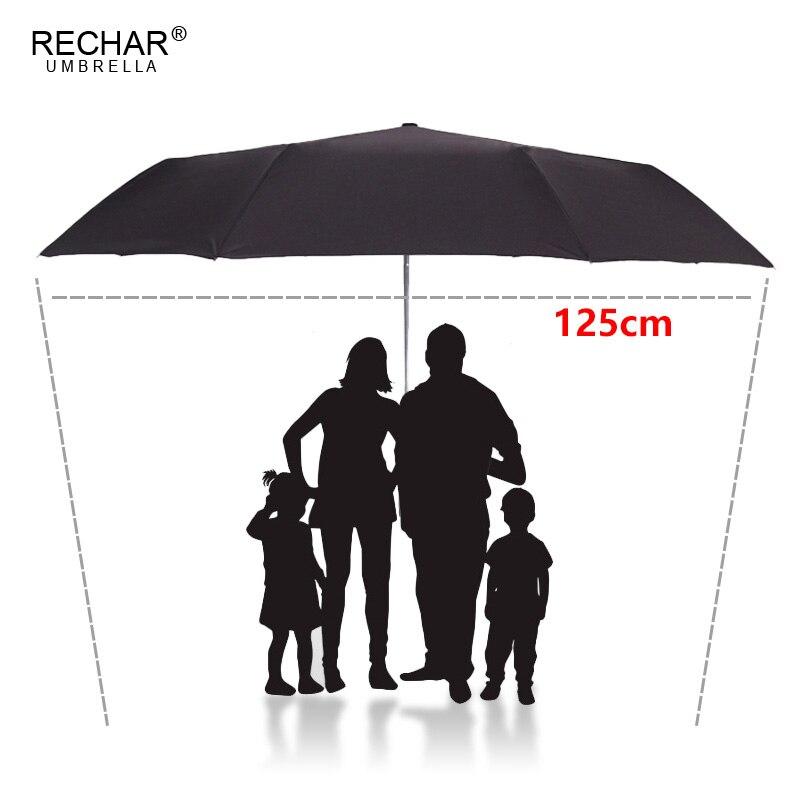 RECHAR Marque 125 cm Automatique Parapluie Hommes Pluie Femmes 3 Pliant Coupe-Vent Grand Parapluie Mâle Femme Grand Parapluie En Plein Air Parapluie
