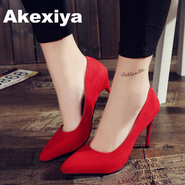 Akexiya 2017 Summer casual Women Shoes Pointed Toe Pumps Dress High Heels Boat Shoes Wedding Shoes tenis feminino
