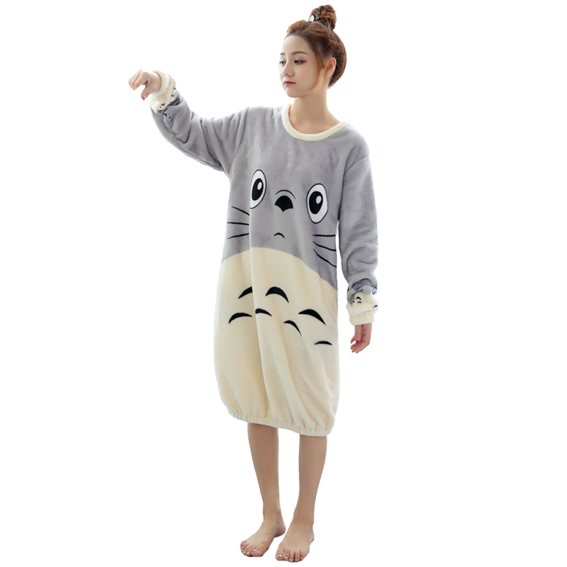 winter Flannel   NightGown   women long sleeve   sleepshirts   pullover sleepwear femme lingeries warm coral fleece nightdress homewear