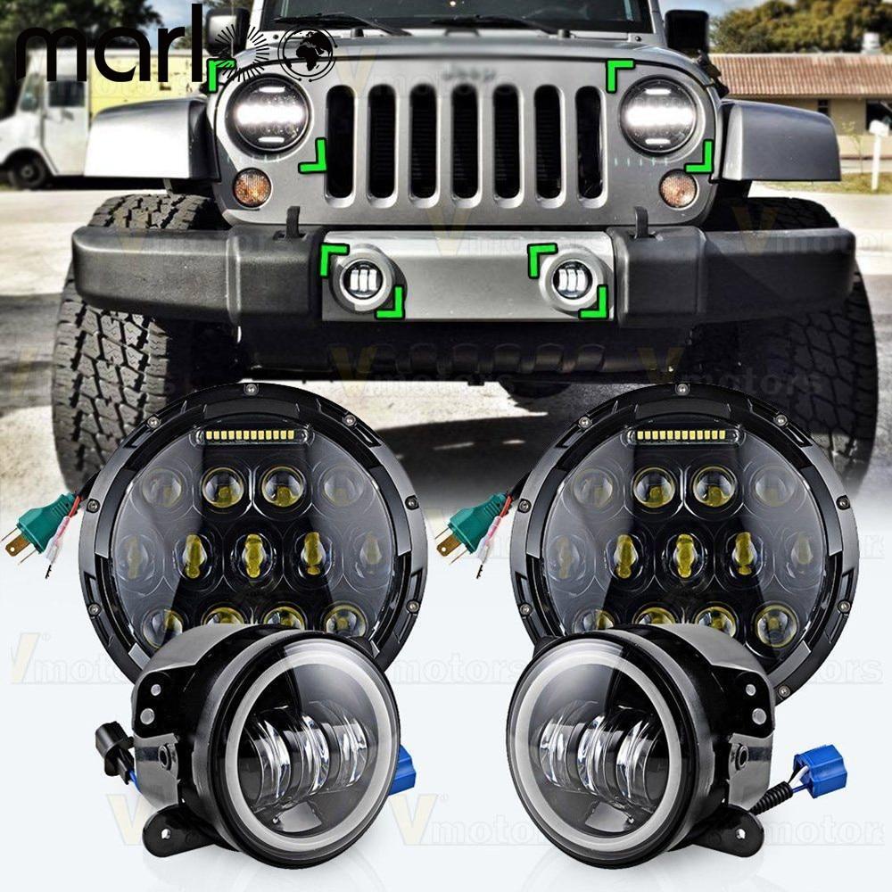 Marloo 7 Round 75W LED Headlights Hi/Lo Beam + 4 Led Fog Lights Projector DRL Halo For Jeep Wrangler JK TJ LJ Rubicon Sahara 2pcs new design 7inch 78w hi lo beam headlamp 7 led headlight for wrangler round 78w led headlights with drl