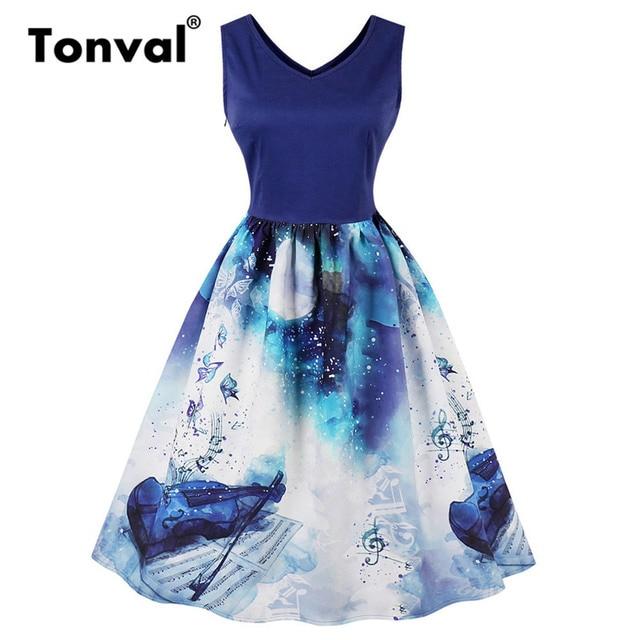 Tonval Blue Elegant Girls Vintage Violin Print Dress Women 2018 Plus Size  Summer Casual Dresses V Neck Sleeveless Dress 3c1606615ec6