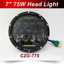 """CZG-775 Hi/luz de cruce 75 w 7 Pulgadas Faro Redondo Llevado 7 """"75 w Ronda LED luz principal de la lámpara con DRL blanco para Harley para Jeep Wrangler"""