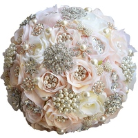 Round Blush Wedding Bouquet Teardrop Butterfly Brooches Bouquet Alternative Cascading Bouquet Crystal Wedding Flowers