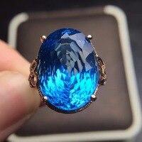 Ювелирные изделия на заказ размер Настоящее 18 К розовое золото AU750 100% натуральный Лондонский Голубой Топаз Драгоценные камни женские кольц