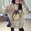 2016 das Mulheres do Outono Inverno Novo Harajuku Gato Bonito Totoro Bordado solto Além de veludo Engrossar sweatershirts Sweatershirt Tops
