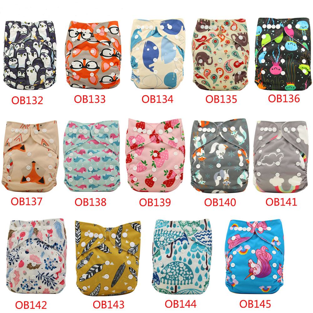 10pcs/Lot Baby Cloth Diapers Nappy Changing Character Print Waterproof Nappies Adjustable Baby Shower Pocket Diaper Cover