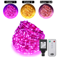 Dual Color Led String Lights Plug In with Remote, 164Ft 500LEDs 10Modes Copper Wire Color Changing Xmas Fairy Lights for Bedroom