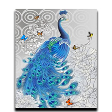 Painting Diamond Diy peacock Embroidery peony 3D Square Full of mosaic room adornment image Rhinestone