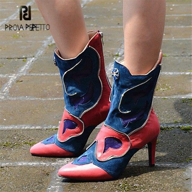 Prova Perfetto Patchwork Women Mid-calf Boots Pointed Toe Zipper Decor  Autumn Rubber Boot High Heels Botas Mujer Women Pumps 22f42cd4c56b