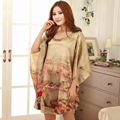 AFUMAN Hot Sexy lingerie Loose faux silk female nightdress large bathrobe Bat sleeve Leopard nightgown robe sleepwear underwear