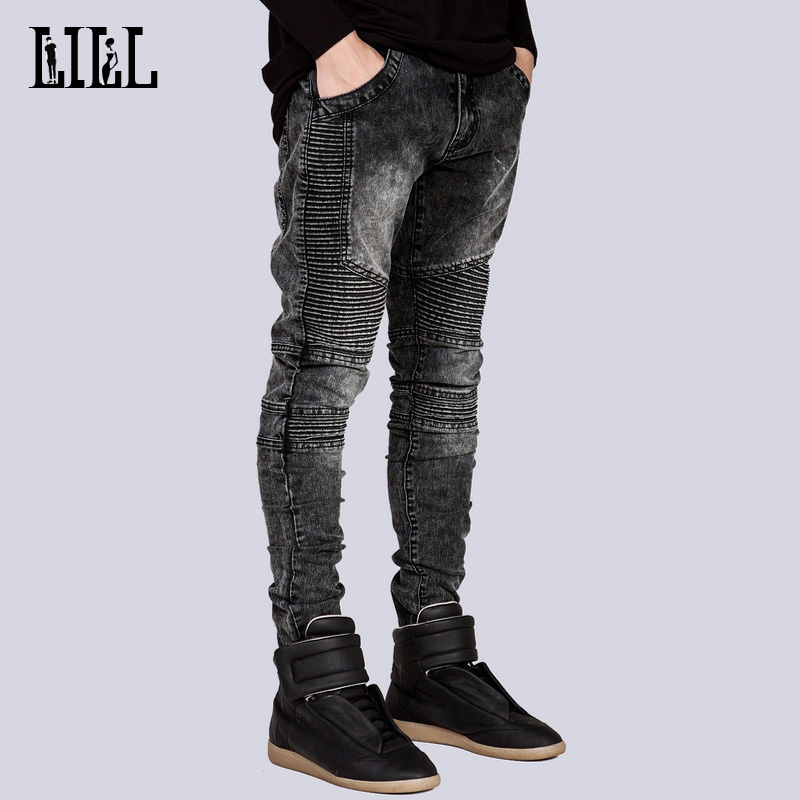 Men & Women Elastic Slim Biker Jeans Casual Men's Jeans Breathable Male Pencil Cargo Pants Fashion Female Black Jean,UMA141