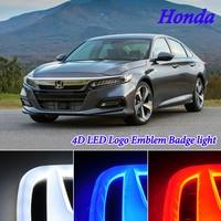 Car Styling 4D Cold Light LED Badge Emblem Logo Light for Honda Civic Fit Odyssey Pilot CRV CR V URV UR V Accord Crosstour City