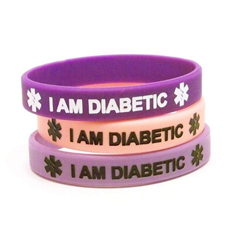 1pc Silicone Type 1 Type 2 Diabetes Medical Alert Bracelets Light Dark Purple Pastel Pink Wristband