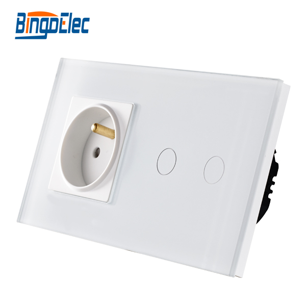 Bingo European french power socket with home light wall siwtch luxury crystal glass panel switch socket