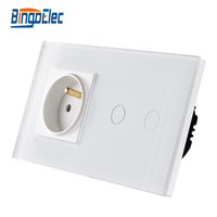 Bingo European French Power Socket With Home Light Wall Siwtch Luxury Crystal Glass Panel Switch Socket