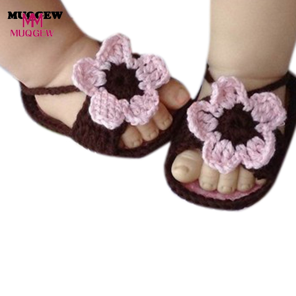 1Pair Simple Newborn Lovely Baby Knitting Lace Crochet Buckle Shoes Coffee Baby Girl Toddler Shoes Bebes Moccasins