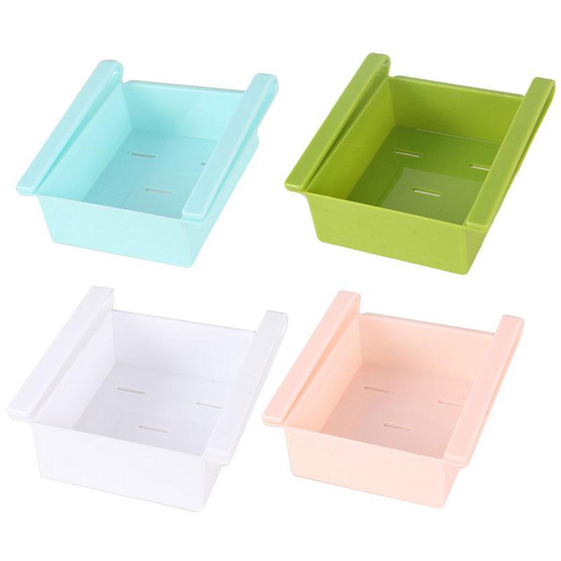 Kitchen Accessories Space Saver Fridge Storage Box Slided Plastic Freezer Organizer Container Case Refrigerator Rack Shelf Tool