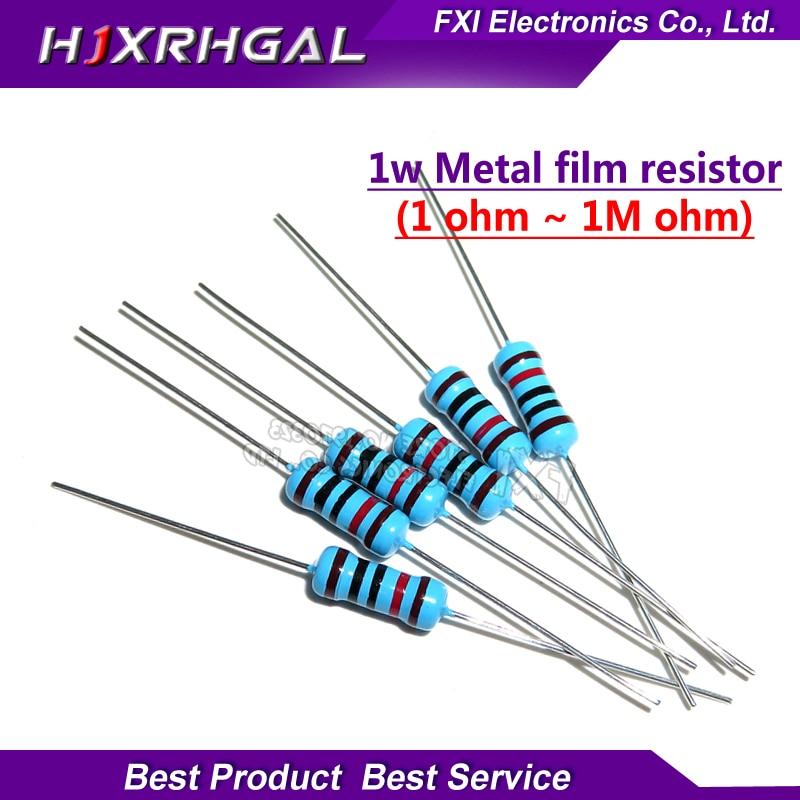 50pcs 1W Metal Film Resistor 1% 1R ~ 1M 1 2 10 22 47 100 330 Ohm 1K 4.7K 10K 22K 47K 100K 330K 470K 2R 10R 22R 47R 100R 330R