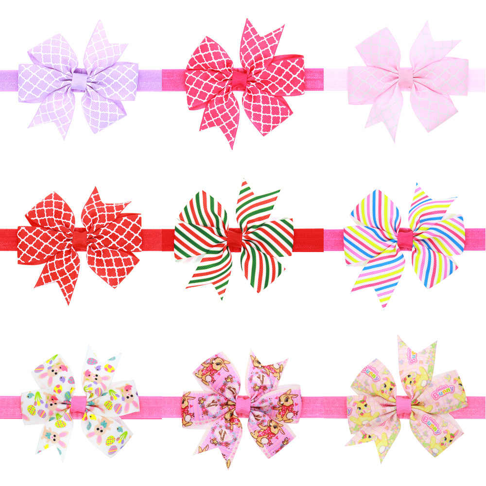 baby girl headband Infant hair accessories newborn Headwear tiara Gift Toddlers bandage Ribbon headwrap Print bows
