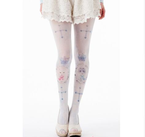 Estilo japonés Harajuku Cruz Preciosa y Gatito Impreso Lolita Panti/Mallas Envío Libre