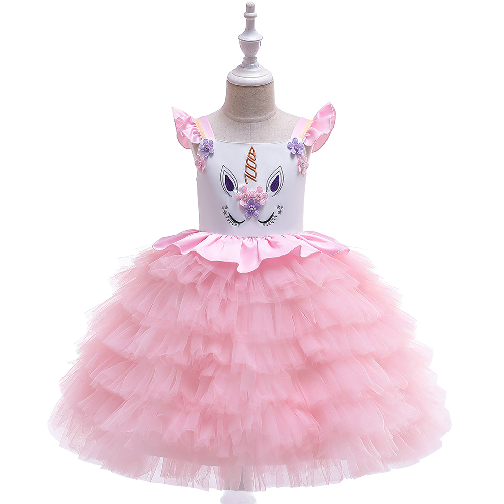 HTB19VoBaA9E3KVjSZFGq6A19XXaE New Unicorn Dress for Girls Embroidery Ball Gown Baby Girl Princess Birthday Dresses for Party Costumes Children Clothing