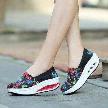 Zapatos planos con estampado de mariposa para mujer, zapatillas de lona con...