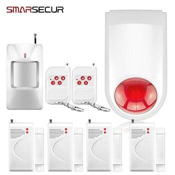 Inalámbrico flash estroboscópico interior sirena alarma cuerno rojo sonido luz sirena alarma antirrobo sistema de alarma + PIR Sensor de puerta alarma