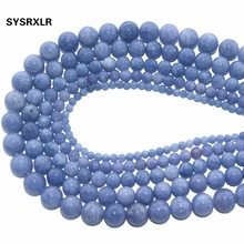 Wholesale Natural Stone Angelite Round Loose Spacer Beads For Jewelry Making Diy Bracelet Necklace 4/6/8/10/12 MM Strand 15