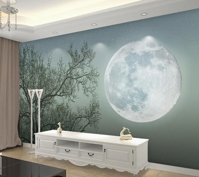 3d papier peint pour chambre Moderne simple arbre abstrait lune ...