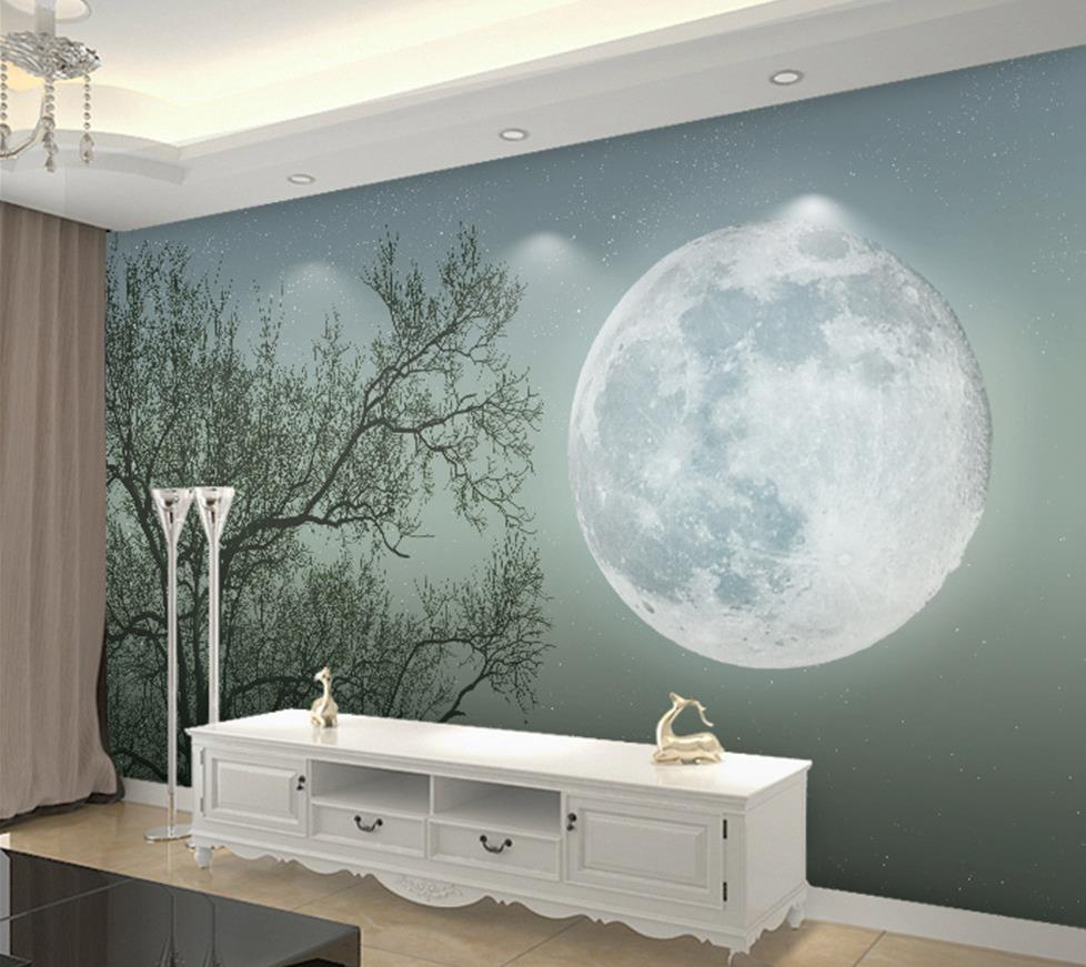3d Wallpaper For Room Modern Simple Abstract Tree Moon Murals Custom 3d Photo Wallpaper Wal