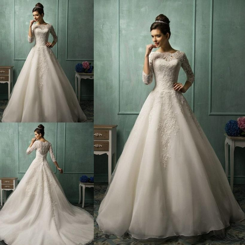 533d448e037 Three Quarter Sleeve Wedding Dresses 2016 Spring White Ivory Organza Scoop  Lace Sheer Cheap A Line Bridal Bidal Gowns-in Wedding Dresses from Weddings  ...