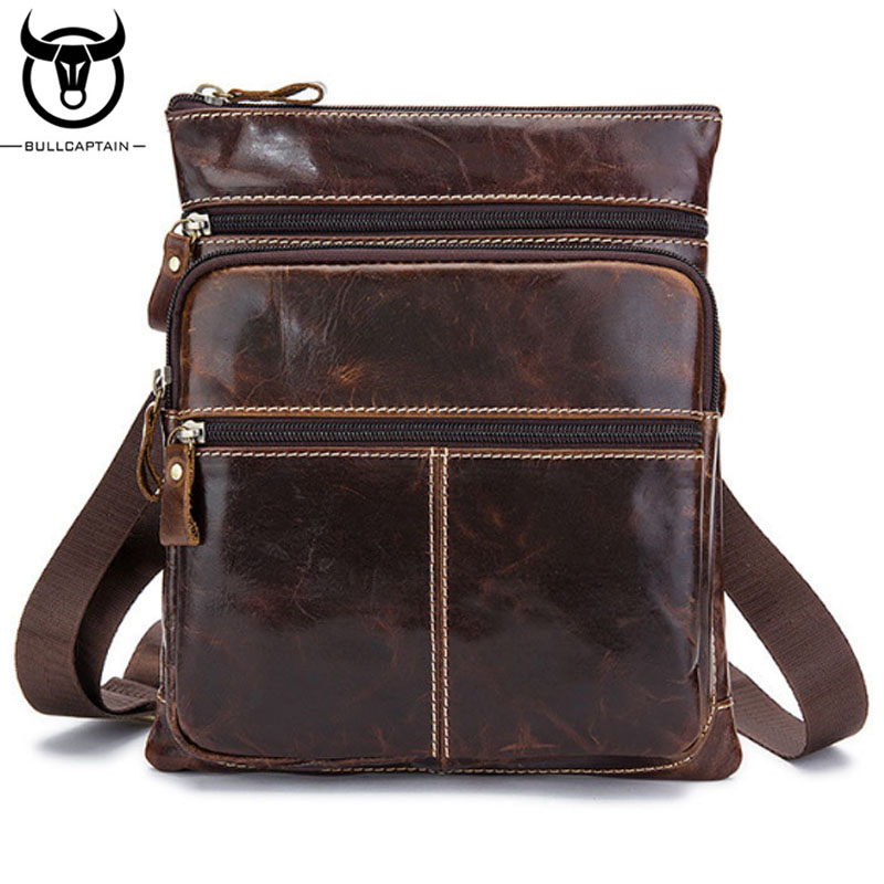 BULLCAPTAIN Men Bags100% Genuine Leather Hot Vintage Messenger Bags Male Casual Cross Body Satchel Brand Designer Shoulder Bag