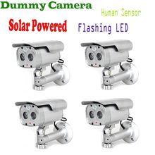 4 unids/lote detección de movimiento bala cámaras de seguridad muñeco Solar Powered w / LED parpadeante