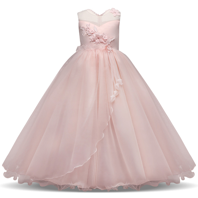 8e8fa74ee5 Long Gown Children Lace Princess Girl Dress for Wedding Birthday Party  Teenage Girl Kids Evening Prom Dresses for Girls 6-14T