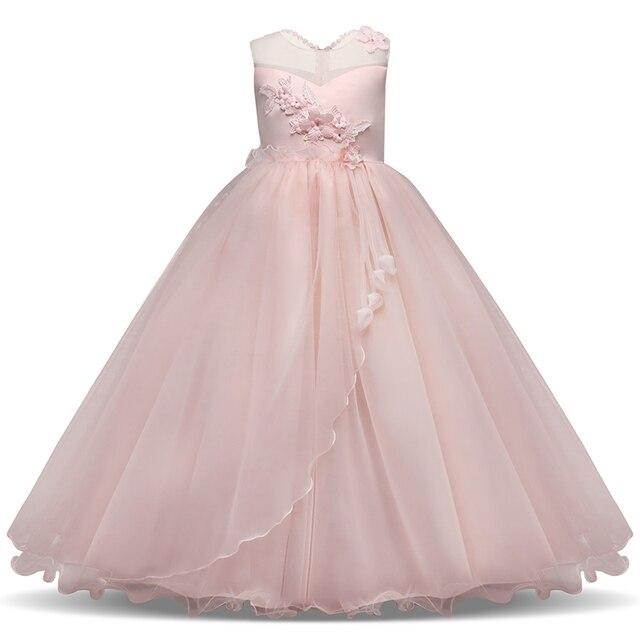 6c95ddeaf0f37 Uzun Elbise Çocuk Dantel Prenses Kız Elbise için Düğün Doğum Günü Partisi  için Genç Kız Çocuk